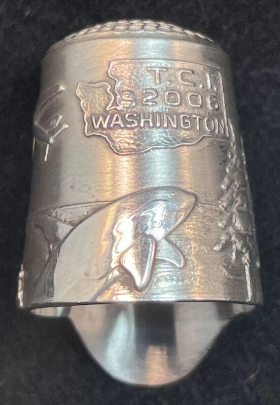 "TCI Sterling Silver Thimble by Simons Bros.  "" T.C.I. Washington 2006 """