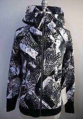 NEW LULULEMON Scuba Hoodie III Static Mist white black print jacket size 4 NWT