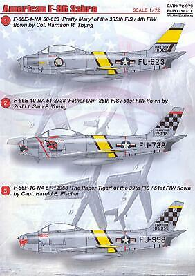 Print Scale Decals 1/72 NORTH AMERICAN F-86 SABRE Jet Fighter Sabre Jet Fighter