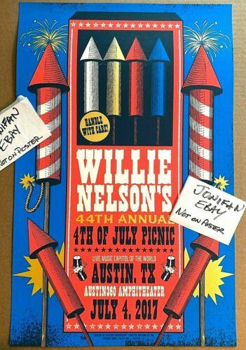 RARE Willie Nelson 2017 July 4th 44th Annual Picnic Poster Austin TX S/N AP #30