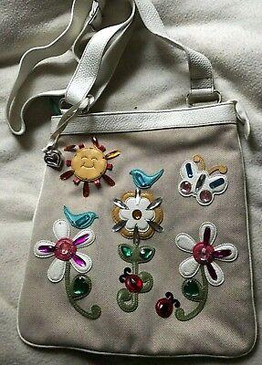 BRIGHTON Butterfly Bird Flowers LadyBug Sun Canvas Cream Leather Lg Shoulder Bag