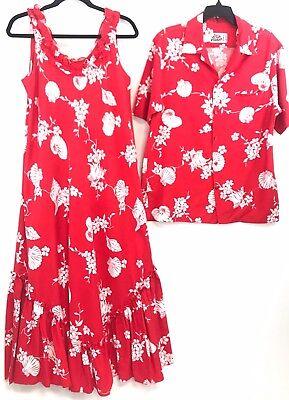 dd2e497e Vintage Hilo Hattie His Hers Matching Hawaiian Muu Muu Dress Aloha Shirt Red