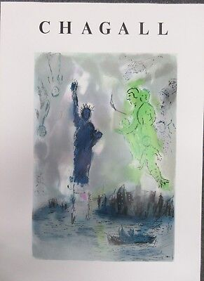 "MARC CHAGALL - ""STATUE OF LIBERTY""  POSTER  1982 FOR ART EXPO NEW YORK  RARE"