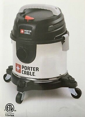 Porter Cable Stainless Steel Wetdry Vacuum 4 Gallons 15.1 L 4.0 Peak Hp