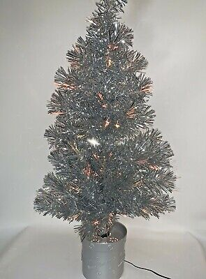 """Vintage 32"""" Silver Fiber Optic Tinsel Christmas Tree Color Changing **Video*"""