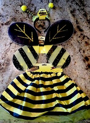 BUMBLE BEE-BUTTERFLY WINGS, SKIRT & ANTENNAS HEAD BAND 3PC.-GIRL COSTUME (Bee Wings)