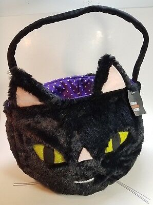 Halloween Trick or Treat Bag Basket Black Furry Cat Green Eyes New with Tag