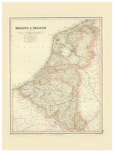 Benelux-Netherlands-Holland-Belgium-illustrated-map-Fullarton-ca-1872