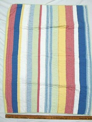 Pottery Barn Kids Toddler quilt Multicolored Patchwork stripes  34 x 47