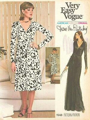 1976 Vintage VOGUE Sewing Pattern WRAP DRESS B38