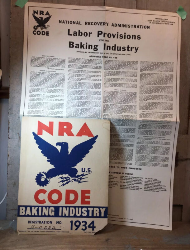 """1934 NRA CODE """"Baking Industry"""" US Government Sign + Labor Provision Poster"""