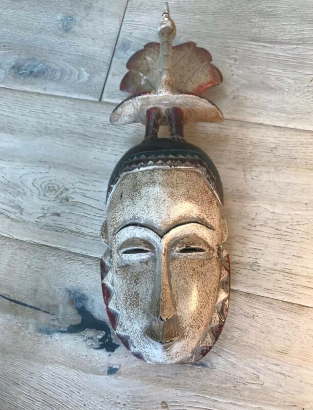 Ancient Primitive Chinese Asian Hand Carved Wooden Mask