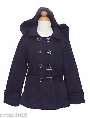 Girls Winter Dress Coat Jacket, Dark Blue, Size: Medium (5-6 years) - Winter Dress Girls