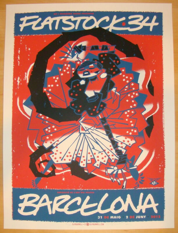 2012 Flatstock 34 - Barcelona Silkscreen Event Poster s/n by Guy Burwell