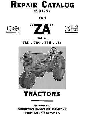Minneapolis Moline Za Repair Parts Manual Zau Zas Zan Zae  R-1072-c