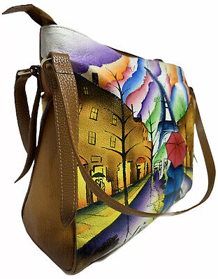 ANNA by Anuschka Hand Painted Paris France Eiffel Tower Leather Shoulder Hobo