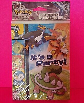 😊 POKEMON Party Invitations 2008 Diamond and Pearl w/Envelopes, Thank You's NEW - Pokemon Thank You