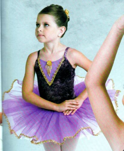 NWT Orchid Plum Ballet costume gold trim dance Girls small sz 4-6 Tutu