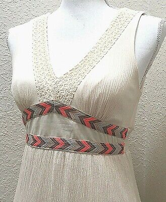 FLYING TOMATO Maxi Dress XS Cream Ivory Aztec Trim Sleeveless Lace Cut Out -