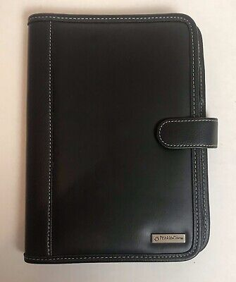 Franklin Covey Compact Black Faux Leather Notepad Planner Binder Snap