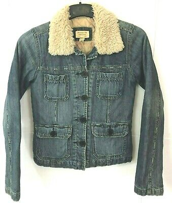 ABERCROMBIE & FITCH Womens Small Jean Jacket Distressed Faux Sherpa Collar