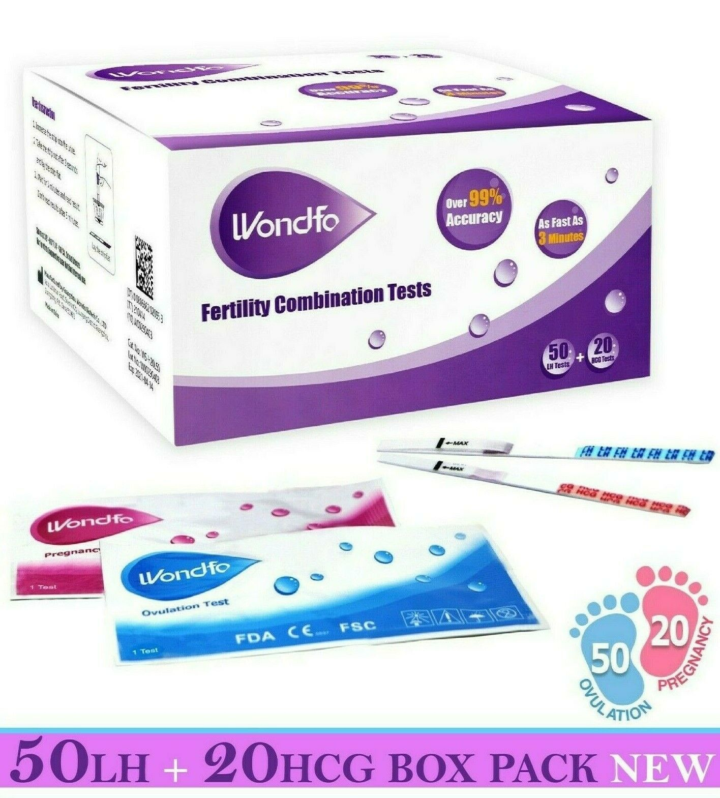 WONDFO 50 ovulation and 20 pregnancy  test strips - Free Shi