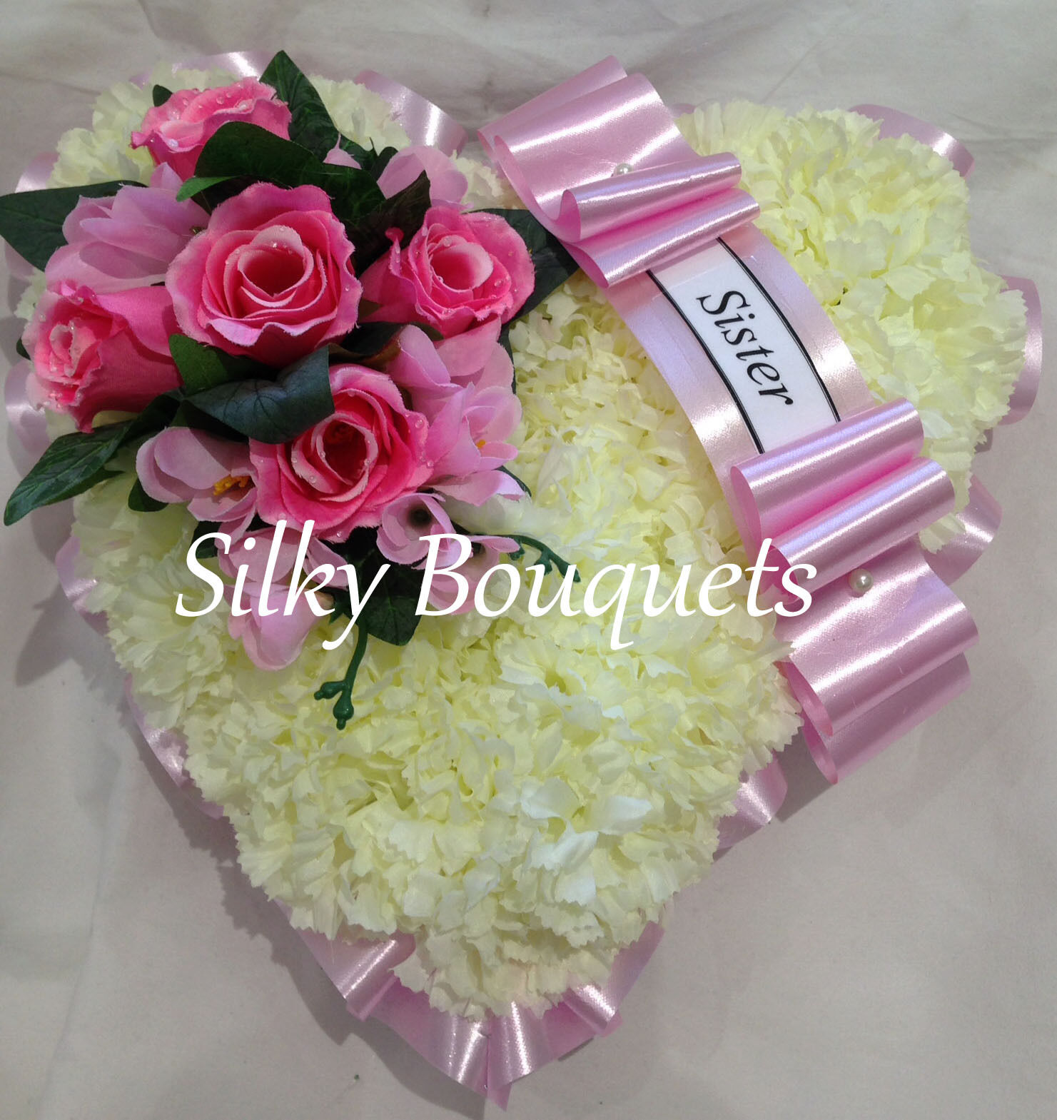 Silk funeral flowers sister flowers healthy mothers day artificial silk funeral flower heart wreath pink mum nan izmirmasajfo