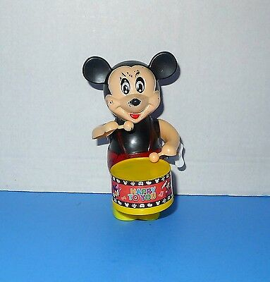 Vintage Wind up MIckey Mouse Drumming Drummer Figure Toy Drums WORKS