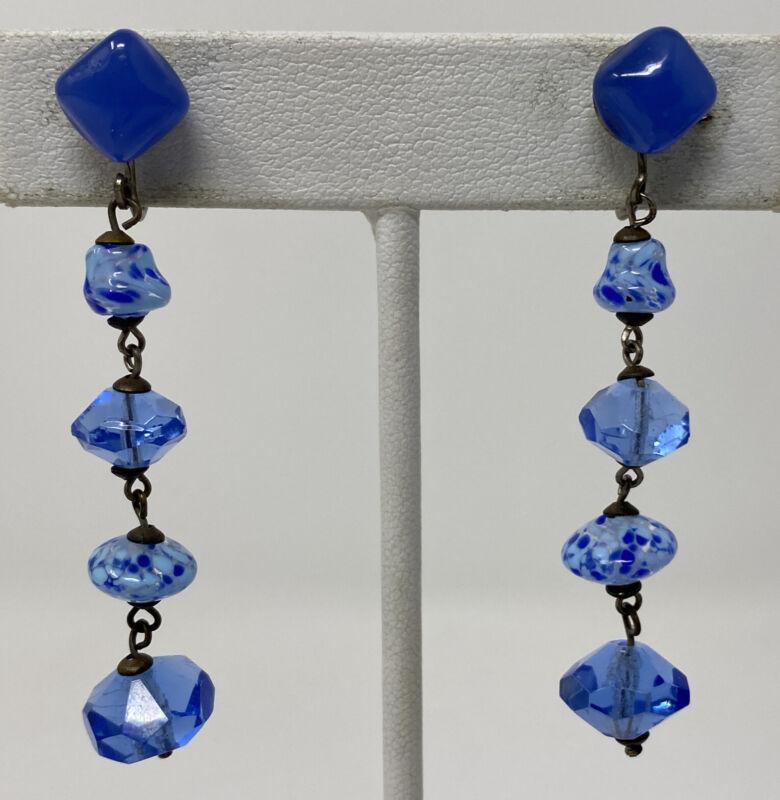 Vintage Deco Czech Blue Speckled Art Glass Faceted Crystal Dangle Screw Earrings