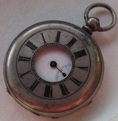 Old pocket watch Demi Hunter silver case 48 mm in diameter load manual key wind