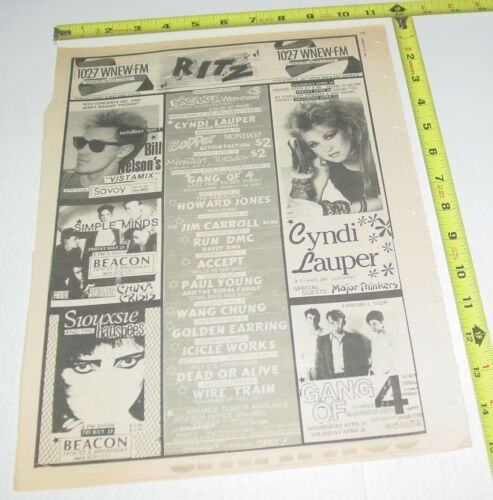 Cyndi Lauper Accept The Ritz Siouxsie Beacon Concert Ad Advert 1984 Tour NYC