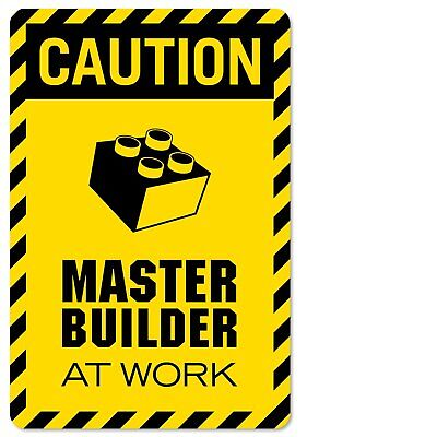 CAUTION master builder at work vinyl decal wall decor print for lego theme rooms - Lego Decor