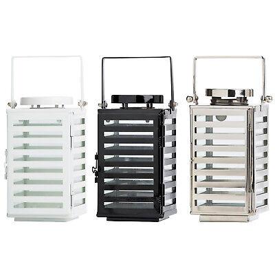 Design Laterne Edelstahl Glas mit Griff Tür Metall Gartenlaterne Kerzenhalter