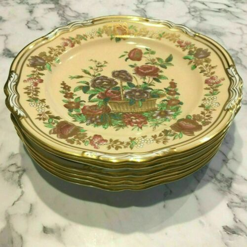 "6 COPELAND SPODE FOR TIFFANY & CO 9"" FLORAL HAND COLORED GILT PLATES 41945B"