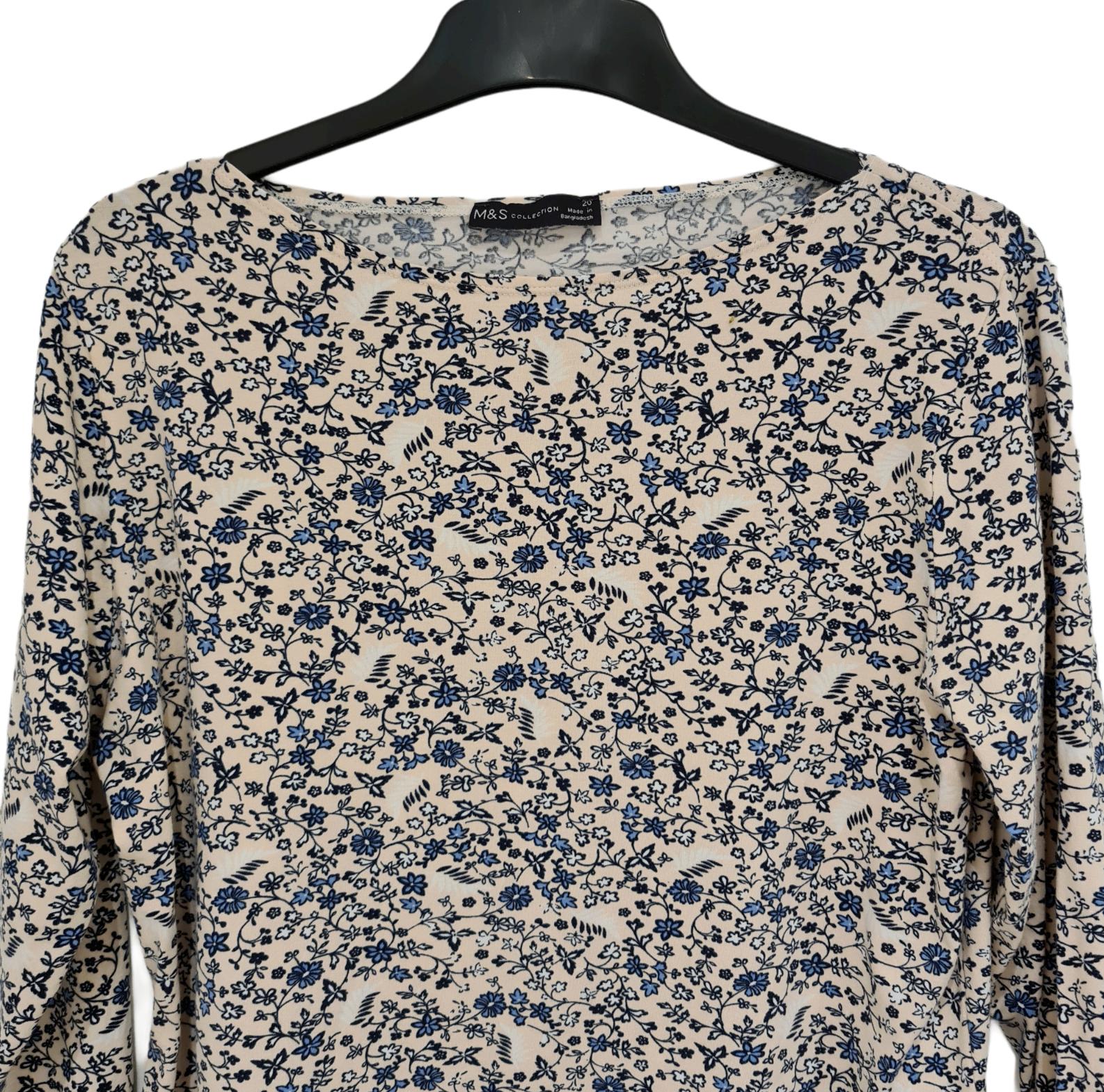Marks and Spencer Top Size 20 Cream Blue Floral Design Elastane for Stretch.