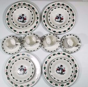 Snowman Family Dinnerware Set Christmas Collection 16 Piece Service for 4 Dishes
