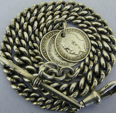 Antique Solid Sterling Silver Albert Pocket Watch Chain t-Bar & 3 Coin Fobs