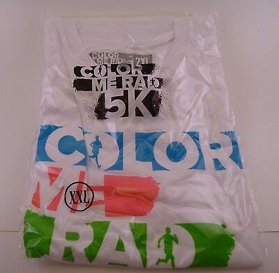 New Mens Color Me Rad Short Sleeve Graphic Tee Shirt   2Xl Xxl   Sealed   White