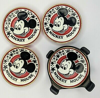 VINTAGE MICKEY MOUSE COASTER RED SET WALT DISNEY PRODUCTIONS 1975