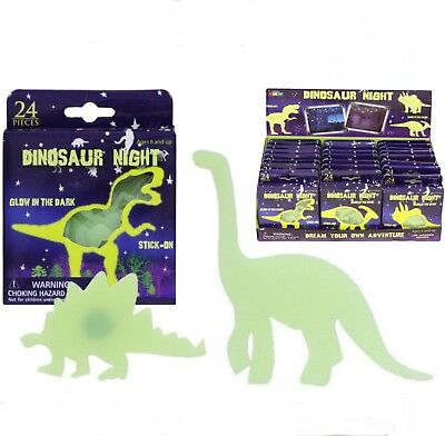 24pc Glow in the Dark Dinosaur &Stars Stickers Ceiling Childs Party Bag Filler