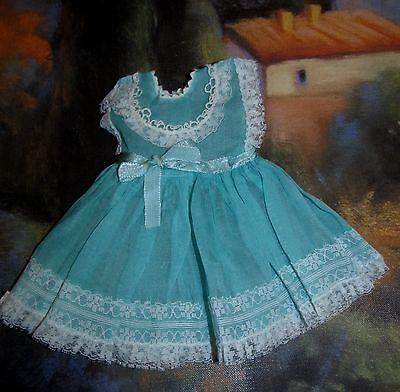 Extremely RARE 1950's Ideal Betsy Wetsy Aqua Organdy & Lace Dress!