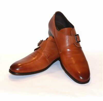 Men's 100% Genuine real Leather Tan Brown Monk Shoe with Leather sole CLEARANCE
