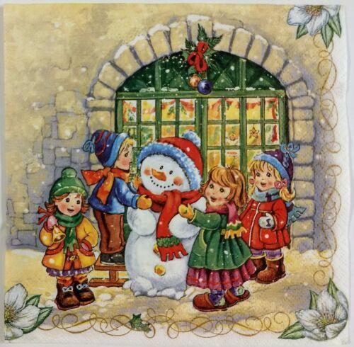 CHRISTMAS WINTER SNOWMAN CHILDREN 2 single LUNCH SZ paper na