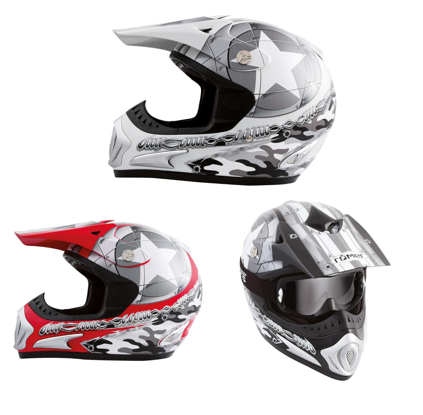Römer Motocrosshelm- Crosshelm mit Helmschild als Quadhelm/ Offroad- Helm