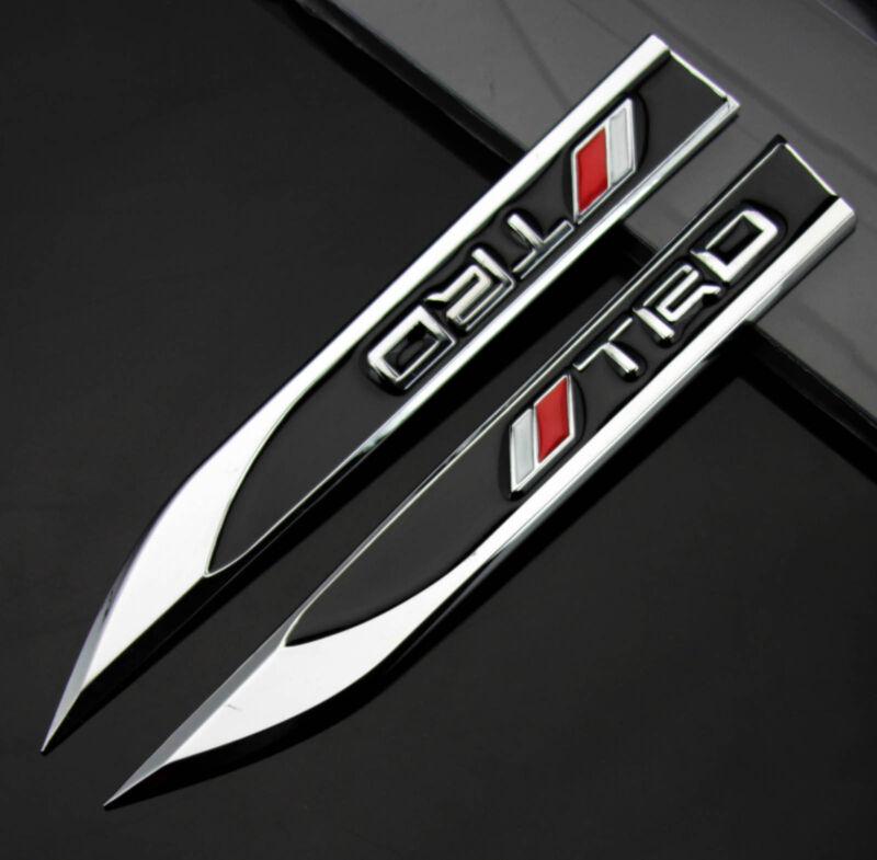 2pcs Auto Car Metal Knife Badge Emblem Decal Sticker For Black TRD Racing sports