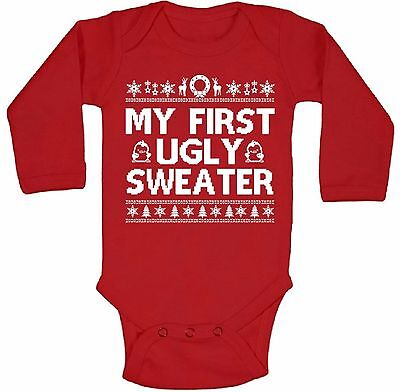My First Ugly Sweater Long Sleeve One Piece Best Christmas Gift Baby