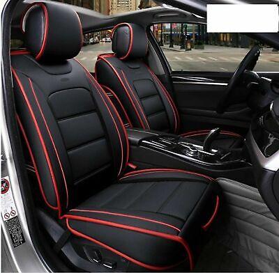 2x Vordere Auto Sitzbezüge Kunstleder Elegant Schonbezüge Schwarz mit roter Naht