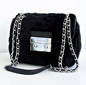 Michael-Kors-Tasche-Bag-Sloan-SM-Shoulder-FUR-Lammfell-Black-NEU