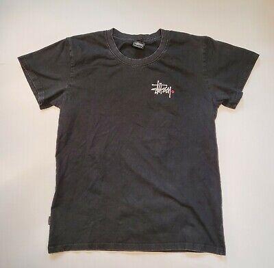 Stussy White Logo Black / red graphic T-Shirt Sz Large fits S/M
