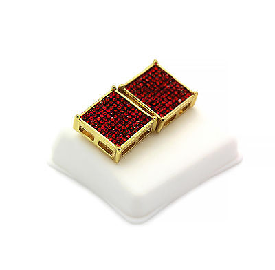 Mens 14K Gold Plated Red Cz TC Square Earrings 10 Row Micro Pave HipHop Red Mens Earring